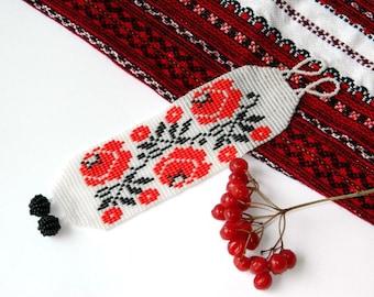 Ukrainian Bead bracelet Roses bracelet Handmade ethnic bracelet Beaded bracelet floral jewelry beadwork Traditional Folk bracelet Mom gift