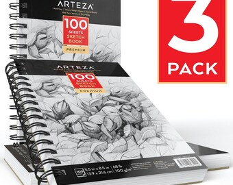 "Arteza Sketch Book 5.5X8.5"" (68lb/100g, 100 Sheets, 3 Pack)"