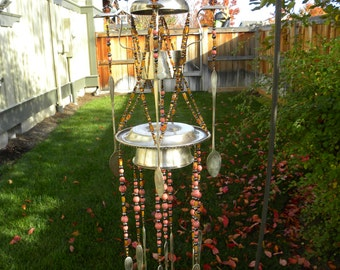 Wind chime - spoon wind chime - upcycled spoons - garden art - windchime - steampunk wind chime - unique garden gift - black, brown, coral