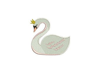 Simple Swan Machine Embroidery File design 4x4 inch or 10cm x 10cm hoop - instant download