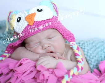 Baby Girl Owl Hat, Aqua and Pink Owl Hat, Crochet Owl Hat, Baby Owl Hat, Crochet Baby Hats, Owl Hats for Girls, Hats for Babies