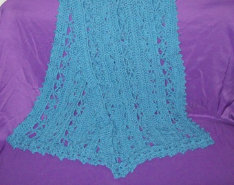 Prayer Shawl, Women's Wrap, Bluebell Color, Crochet Neck ware