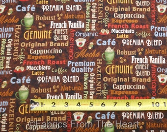 Coffee Escapes Mocha Latte Beans Cafe Words on Brown BY YARDS Henry Glass Fabric
