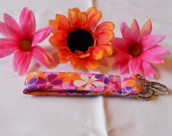 Keychain Wristlet - Pink, Orange and Purple Flowers
