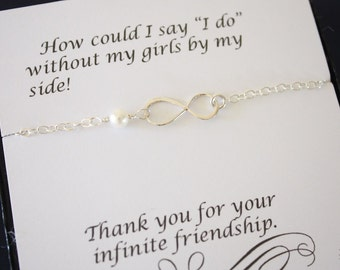 7 Silver Bridesmaid Infinity Bracelets, Infinity Eternity Jewelry, Bridesmaid Gift, Bridesmaid Thank You Card, White Pearl, Sterling Silver