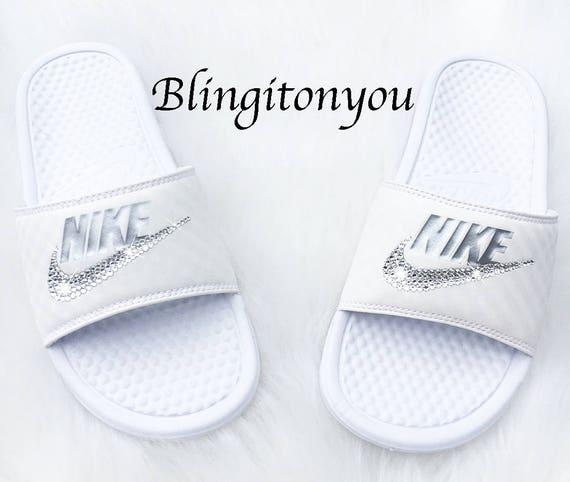 Swarovski Nike Slide Sandals  Women's Bling Nike Benassi