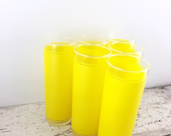Set of Six Vintage Yellow Highball Glasses