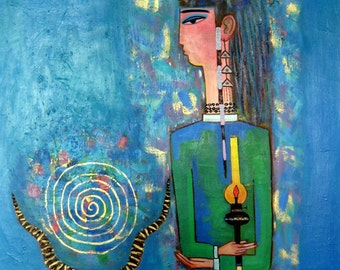 """Original Abstract painting""""The Stranger """" from artist N.Jholbunov."""