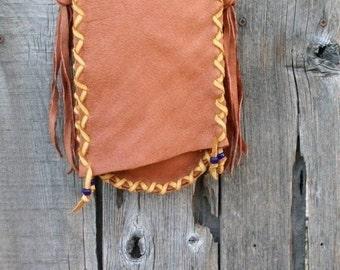 Handmade leather purse , Leather crossbody handbag , Simple cross body purse
