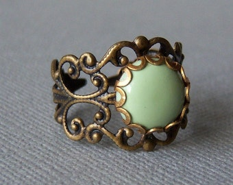 Mint Green Vintage-Retro Ring/Light Mint Green Victorian Ring/ Adorable Collection By Marina y Teresa
