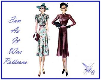 "Rare 1930s McCall 9846 McCalls Blouson Dress Gathered Bodice Yoke Long Short Sleeves Collar Vintage Sewing Pattern Size 12 Bust 30"" 76cm"