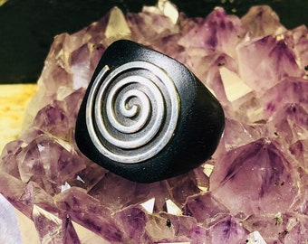 Modernist Carved Ebony Wood  Sterling Silver Spiral of consciousness Vintage Ring