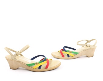 Vintage 70s Sandals Canvas Wedges Summer Heels Rainbow Fabric Pumps Size 8.5 1970s Strappy Rainbow