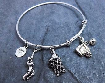 Basketball Bracelet - Charm Bracelet - Gift for Her - Team Gifts - Basketball Jewelry - Sports - Basketball Gift - Basketball Charm - Coach