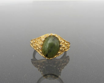 SALE Vintage Jewelry Gold Tone Nephrite Jade Adjustable Ring Size 6