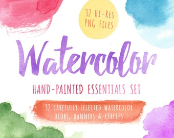Watercolor Clipart, Watercolor Clip Art, Watercolor, Textures, Blobs, Banners, Circles, Printable, Commercial Use