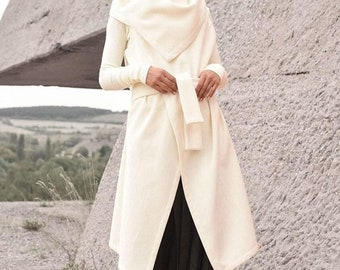 SALE Off White Wool Cashmere Sleeveless Coat / Beautiful Loose Vest / Cashmere Wool Blend   Vest with Belt /HandMade by AAKASHA A06110