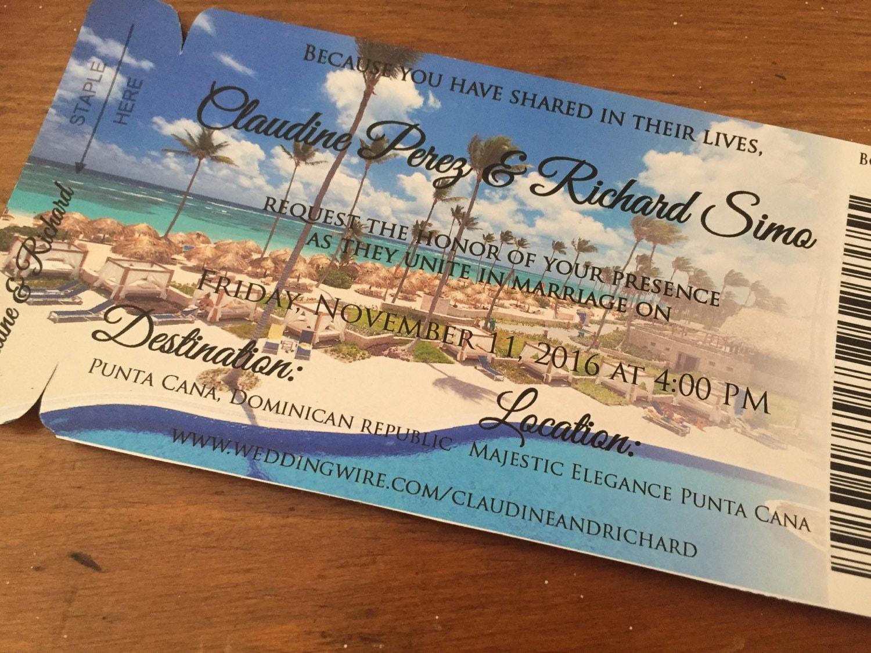 Punta Cana Wedding Invitation. Boarding Pass Save the Date