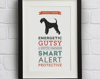 Airedale Terrier Dog Breed Traits Print - Airedale Terrier Gift