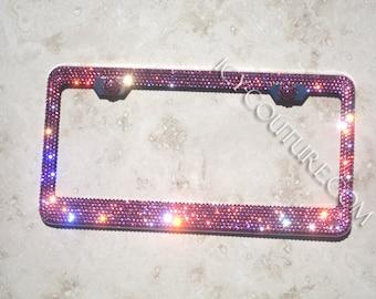 Custom Message Swarovski Crystal Bling License Plate Frames