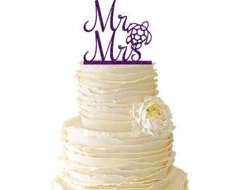 Glitter Mr. And Mrs. With Sea Turtle Acrylic Wedding/Special Event Cake Topper - 023