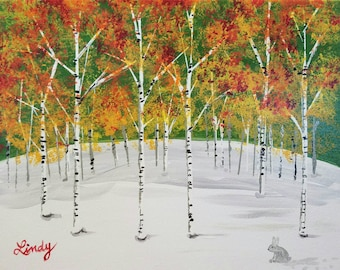 Aspen Grove Trees 11x14 Canvas art painting. Do Not Copy Colorado birch snow leaves changing color Free shipping! Fall wall decor gift idea