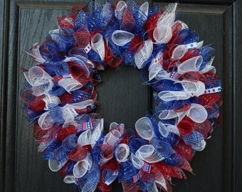 14 inch red,white and blue mesh wreath