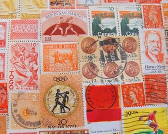 Shades of Orange 100 Vintage Postage Stamps Peach Nectarine Tangerine Citrus Lemon Yellow Gold Rust Scrapbooking US Worldwide Philately 2