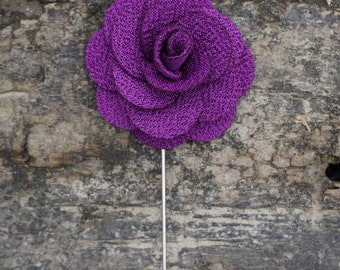 Purple Flower Floral Lapel Suit Pin Wedding Special Event Gift