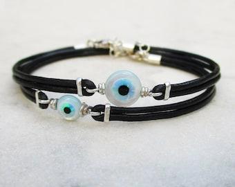 Evil eye bracelet, dainty genuine leather sterling silver & lab opal eye bracelet, minimal cultured opal and mother of pearl eye bracelet