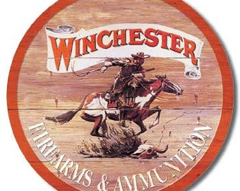 """Tin Sign """" Winchester Firearms & Ammunition Hunting """" 11.75"""" Dia. Man Cave"""