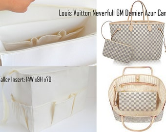 Taller Purse organizer for Louis Vuitton Neverfull GM Damier Azur Canvas with Zipper closure- Bag organizer insert in Cream