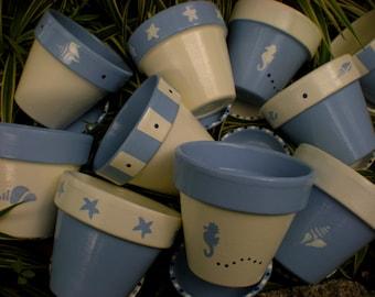 Painted Flower Pots - Medium Sized - Set of 5 - Herb Planters - Succulent Planters