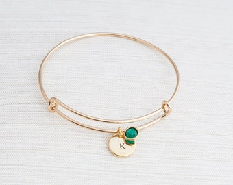 Gold Initial & Birthstone Bangle, Personalised Bracelet, Birthstone bracelet