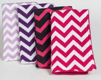 Pink and Purple Chevron baby girl burp cloths (pink chevron, purple chevron)