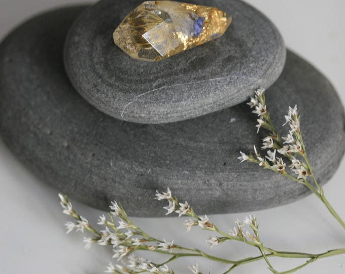 Faceted Brooch | Wicklow Wildflower and Resin Brooch | Botanical | Nautical | Crystal