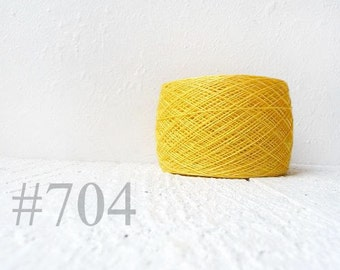 yellow linen crochet thread - yellow laceweight  linen yarn # 704