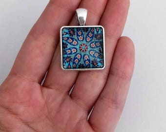Paisley pendant etsy square glass tile pendant paisley pendant talavera jewellery spiritual necklace supplies indian mozeypictures Image collections