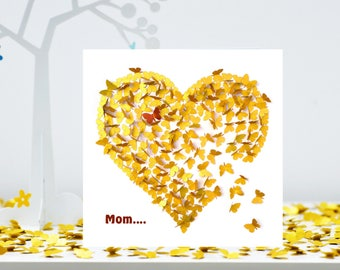 Mom Heart of Gold Card, Mom Mothers day Card, Mom Thank You Card, Mom Heart Card, Gold Heart Card, Moms Day Card. Mom Butterfly Card