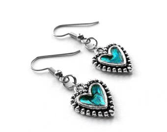 Silver Heart Earrings, Teal Jewelry, Love, Gift for Daughter, Rock n Roll Jewelry, Resin Jewelry