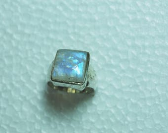 blue fire rainbow moonstone gemstone sterling silver ring