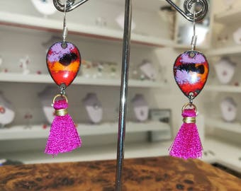 Earrings in enamels on copper, pink, orange and red and pink PomPoms