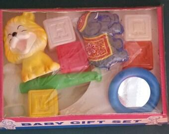 Baby Nursery Gift Set, Crib Mates, Baby Room, Nursery, Room Decor, Squeaky Lion, Plastic Blocks, Set Prop