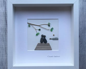 Sea glass and pebble art - couple under tree
