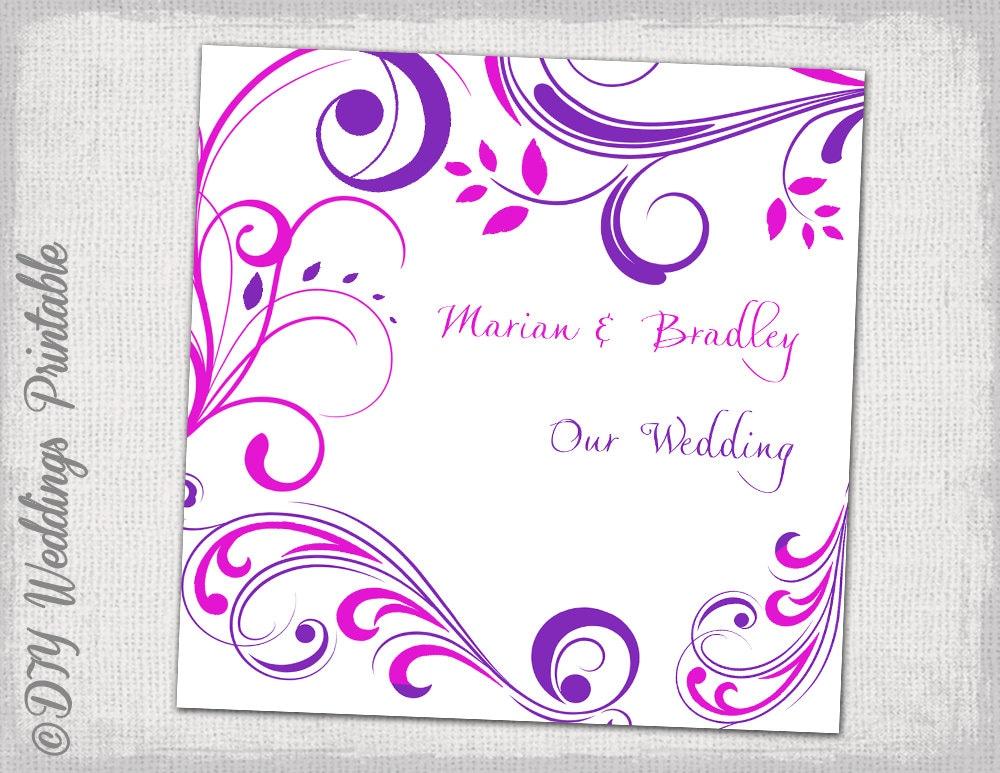 CD/DVD Cover Vorlage lila und Rosa Scroll DIY