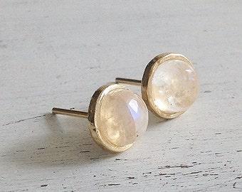 Gold Moonstone earrings,moonstone studs,delicate earrings,gold stud earring,moonstone stud earrings,gemstone earrings,gift