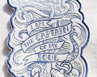 "I am the Captain of my Soul - Nautical Iron on Applique - Choice of Color Scheme - Patch 7.25"" x 3.75"""