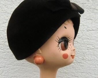 Dark brown vintage hat bunny felt Filzkäppi with big loop 20s 30s 40s 50s