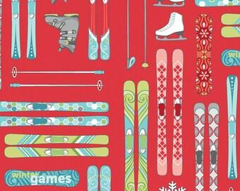 Contempo Studio - Winter Games by Amanda Murphy - Red Ski's w/metallic - 3534MB-10 - 100% cotton fabric by the yard(s)