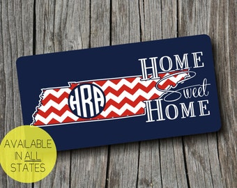 Tennesse Monogram Home Sweet Home Car Tag/ License Plate